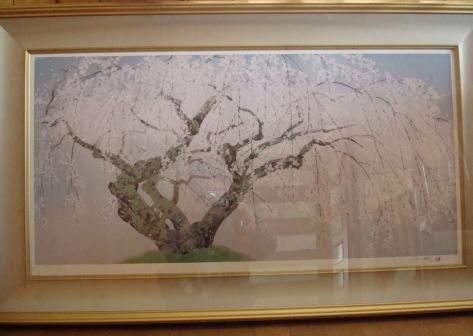 夢殿の枝垂れ桜 切り抜き   中島 千波
